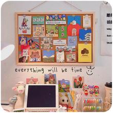 软木板7a言板挂式照yrns风家用创意桌面图钉板墙贴墙板记事板