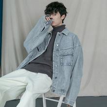 蒙马特7b生 韩国复loold school牛仔衣 男女情侣烟灰色外套潮