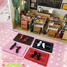 宝宝玩7e娃娃屋配件7d鞋子微缩体重秤食玩家具(小)地毯模型