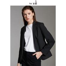 万丽(7q饰)女装 q3套女短式黑色修身职业正装女(小)个子西装