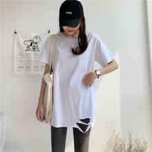 纯棉27q20年夏季q3长式白色t恤女短袖宽松打底衫上衣超火ins潮