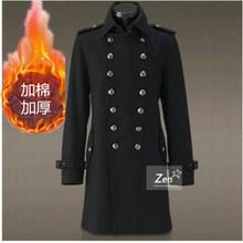 冬季男7q领德国军装q3身中长式羊毛呢子大衣双排扣毛呢外套潮