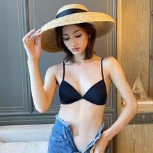 法式无7q圈薄式交叉q3胸女士多用舒适多穿挂脖法式显(小)内衣女