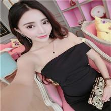 泰国潮7q性感一字领q3黑裙开叉包臀抹胸连衣裙夜店礼服裙