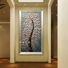 玄关装7u画纯手绘油uk抽象走廊过道客厅壁挂画新式立体发财树