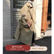 卡其色7u衣女春装新uk双排扣宽松长式外套收腰系带薄式大衣潮