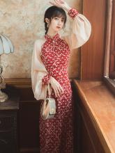年轻式88021新式1n甜美日常改良款红色连衣裙气质法式夏季