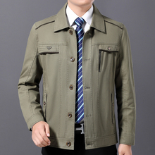 中年男88春秋季休闲zp式纯棉外套中老年夹克衫爸爸春装上衣服