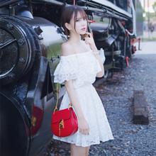 漏肩一8d肩连衣裙女ew(小)清新甜美公主可爱收腰学生少女仙女裙