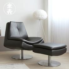 坐壳家8j简约客厅真ee沙发旋转单椅脚踏组合深咖休闲单的躺椅