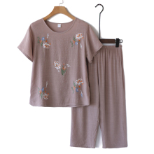 凉爽奶8o装夏装套装oq女妈妈短袖棉麻睡衣老的夏天衣服两件套