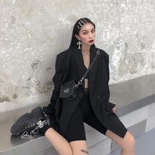 [8oq]鬼姐姐黑色小西装女春秋冬新款中长