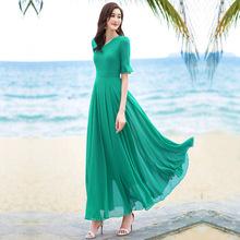 20292新式五分袖jw色V领连衣裙过膝度假沙滩裙大码女装长裙