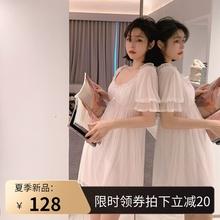 很仙的95衣甜美纯棉5p性感睡裙女夏少女唯美公主风带胸垫睡裙