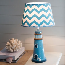地中海9d光台灯卧室ll宝宝房遥控可调节蓝色风格男孩男童护眼