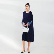 LAM9jA大牌港风jw装连衣裙孕妈针织泡泡袖连衣长裙外出产后式