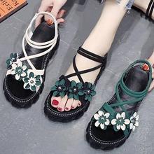 软底凉9m女平底20rw季新式百搭仙女风花朵高跟罗马厚底松糕鞋潮