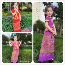 滇七彩a3国女童装 58童舞蹈服装演出礼服 泼水节民族服饰套装