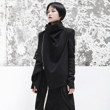 SIMPLaa BLACwo秋新款暗黑ro风中性帅气女士短夹克外套