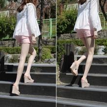 韩款坡跟凉鞋女aa42020ah超高跟防水台百搭拖鞋女一字带仙女