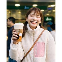 锅的猫宁aa1慵懒风甜on口袋米色羊羔毛日系百搭休闲外套女冬