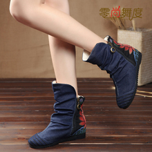 202ab春秋冬季新ja鞋 老北京布鞋 短靴子女橡胶棉鞋