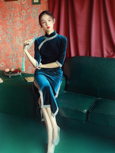 老上海ab古名媛少女ja绒中国风年轻式优雅气质连衣秋冬
