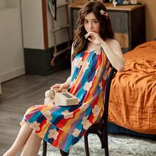 吊带睡ab女夏季纯棉ja性感睡衣可爱甜美少女夏天学生睡裙女装