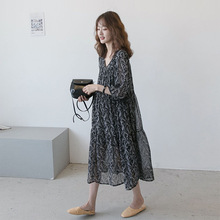 孕妇装ab021春装as纺长裙 韩款气质大码宽松孕妇夏装连衣裙潮