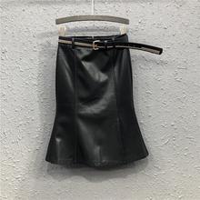 黑色(小)皮裙包ab裙女21春et欧美时尚高腰显瘦中长款鱼尾半身裙