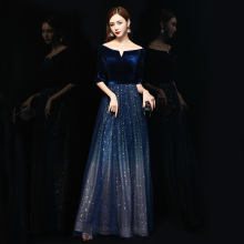 丝绒晚ac服女202di气场宴会女王长式高贵合唱主持的独唱演出服