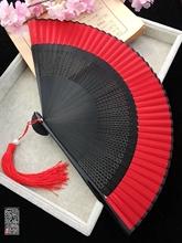 中国风ac典古风(小)手di色镂空女式折随身便携跳舞蹈扇汉服