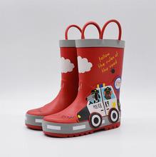 男童 ac色警车卡通ng童(小)孩防滑中筒橡胶雨鞋靴水鞋 四季可穿