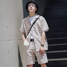 韩风cacic西装领of子衬衫男士青年夏季bf风休闲短袖衬衣潮中袖