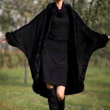 202ac冬装新式女at篷外套女蝙蝠袖披肩大衣大码全毛领显瘦披风