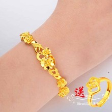 仿真越ac沙金手链女ib花朵镀金金首饰黄金纯金色婚庆久不掉色