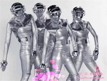 夜店新ac演出服未来jt银色连体头盔酒吧舞队男女gogoDS太空服