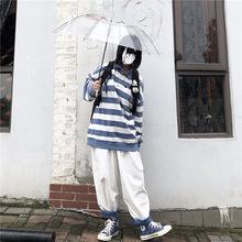 秋冬日系蓝白条纹polo衫上衣宽松ovac16rsius女长袖卫衣ins潮