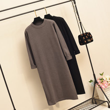 秋冬新款黑色连衣裙女ac7高领针织us长袖宽松大码红色打底裙