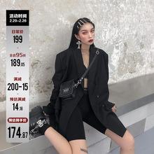 鬼姐姐黑色(小)ad装女春秋冬dc长款chic复古港风宽松西服外套潮