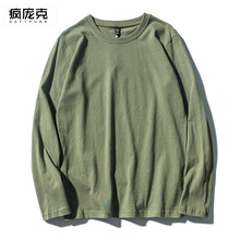 纯棉男ad军绿色t恤m4式宽松韩款春季长袖上衣学生情侣打底衫