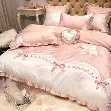 四件套全棉纯ad3100 ms心公主风床单被套床上用品结婚4件套