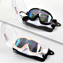 新式YadRK高清防mw泳镜舒适男女大框泳镜平光电镀泳镜