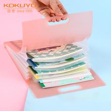 日本KadKUYO国nt曲奇格子竖式A4手提多层文件袋科目分类文件夹便携试卷收纳