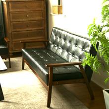 实木北ad现代简约三nt厅沙发(小)户型客厅双的沙发皮质