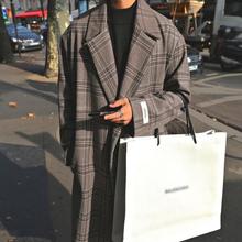 @方少ad装 秋冬加xi格子呢大衣男韩款英伦宽松中长式风衣外套