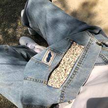 王少女的店ae2牛仔背带ee季新式韩款宽松直筒减龄网红阔腿裤子