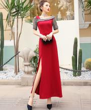 (小)礼服夏装新式时尚拼ae7斜肩短袖ee高腰修身显瘦开叉连衣裙