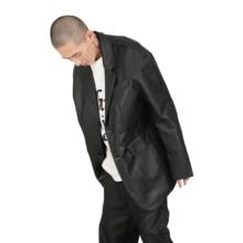 IN TERRIS ae7冬独立设lyV中长款PU女黑色复古皮衣男西装外套