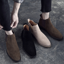202ae真皮男士尖no靴反绒磨砂皮英伦风切尔西靴发型师皮鞋高帮